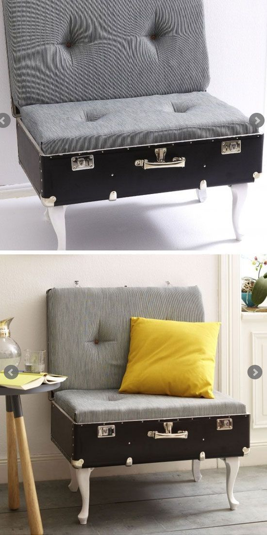 Upcycle an Old Suitcase Into a Cozy Chair   Click Pic for 22 Small Bedroom Decorating Ideas on a Budget   DIY Bedroom Decorating Ideas for the Home