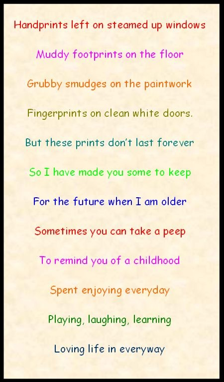 Handprint poem - Add handprints to this poem for a touching Mother's Day gift.