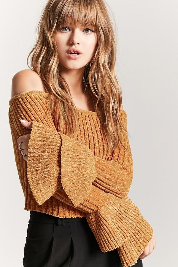 f5aed7c7ff60a3 FOREVER 21 Chenille Off-the-Shoulder Sweater