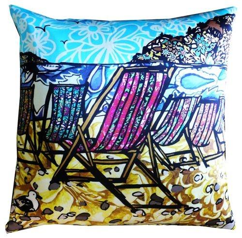 Deck chairs, sea gulls, sunshine - all on a cushion - happy days!