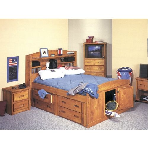 Twin Size Captains Bed With Side Shelves