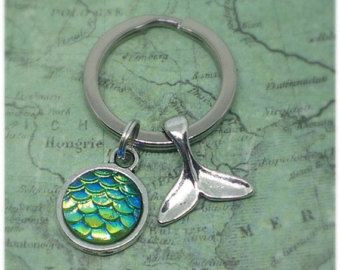 Silver Whale Tail Keyring Whale Tail Fish by JewelleryByEllaRose