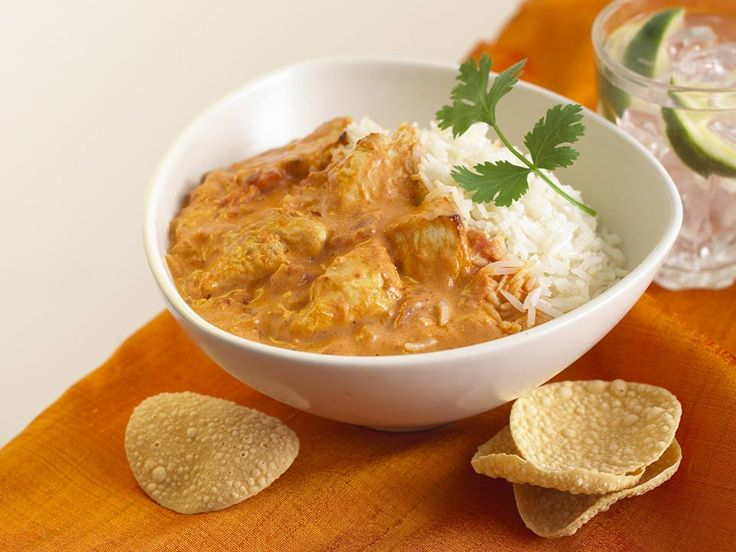 This is a tasty Chicken Tikka Masala recipe, served with basmati rice and poppadums.