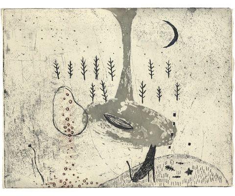 Kumi Obata / Howling and the Moon at the Horizon / 遠吠えと低い月 / 290×365mm / 2008ボローニャ国際絵本展入選作品
