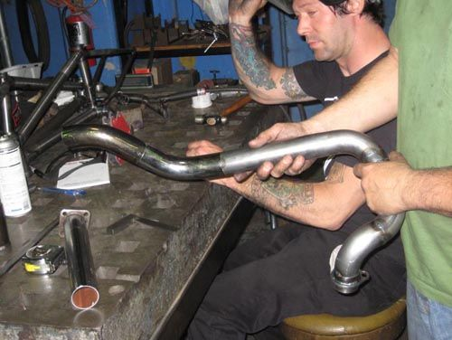 Step by step visual guide to building a custom motorcycle exhaust for your chopper or bobber using the Biltwell Custom Exhaust kit.
