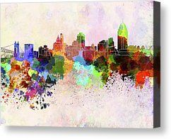 Cincinnati Skyline In Watercolor Background by Pablo Romero - Cincinnati Skyline In Watercolor Background Digital Art - Cincinnati Skyline I...