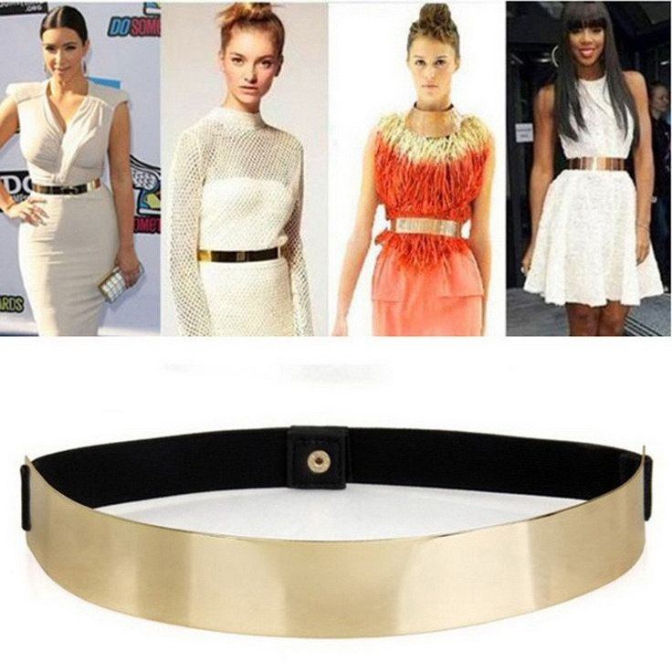 Slim Elastic Metallic Bling Simple Fashion Band Gold Plate Metal Waist Belt