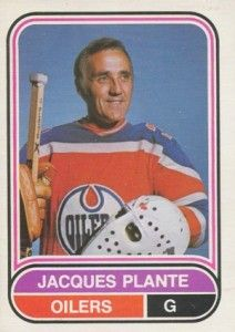 The Jacques Plante rookie card appeared as #50 in the 1955-56 Parkhurst set. His final hockey card as a player is part of the 1975-76 O-Pee-Chee WHA set.