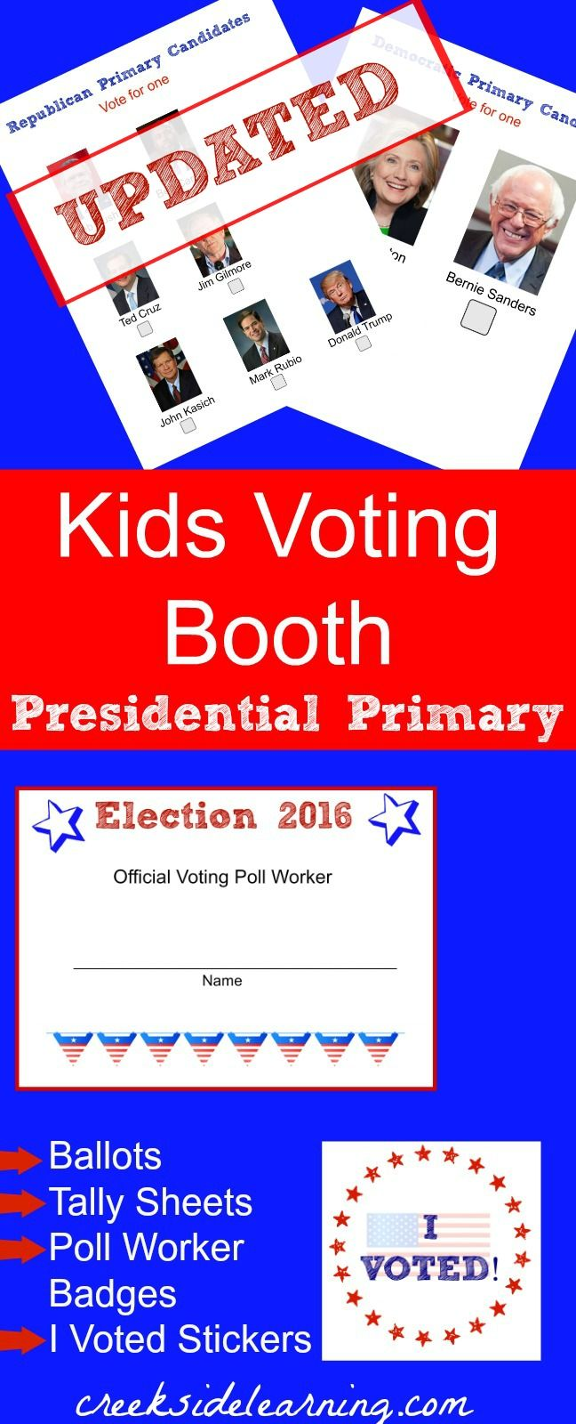 kids voting booth presidential primary. Kids election activities, voting ballots. Kids vote for presidential candidates.