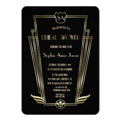 Royal Gold Art Deco Monogram Bridal Shower Card - monogram gifts unique design style monogrammed diy cyo customize