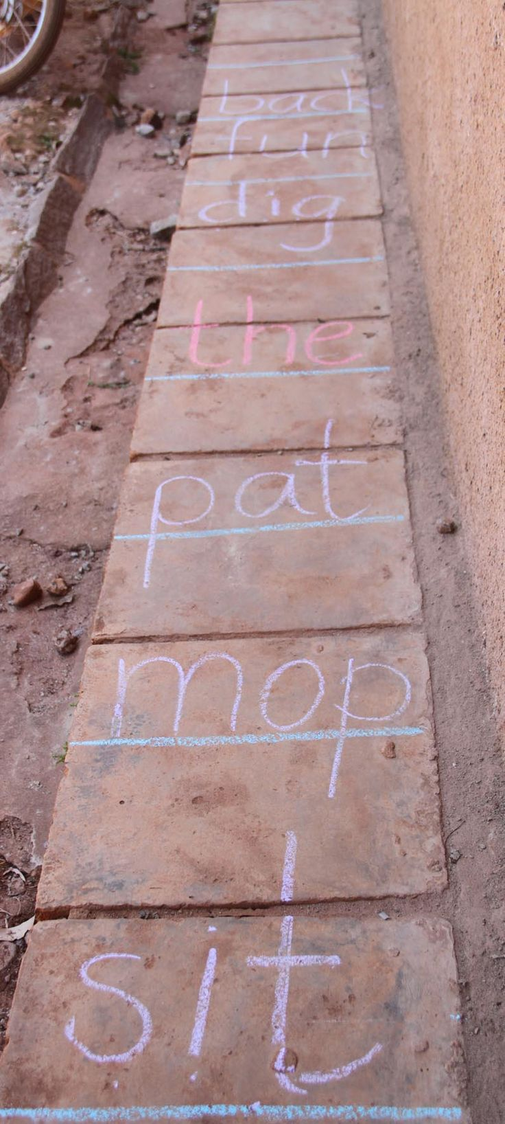 Get to the other side of the ladder: learners can sound and read or just read words as the step/hop/jump their way to the other side. We used a different colour for tricky words.