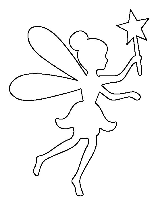 Fairy pattern. Use the printable outline for crafts, creating stencils, scrapbooking, and more. Free PDF template to download and print at http://patternuniverse.com/download/fairy-pattern/