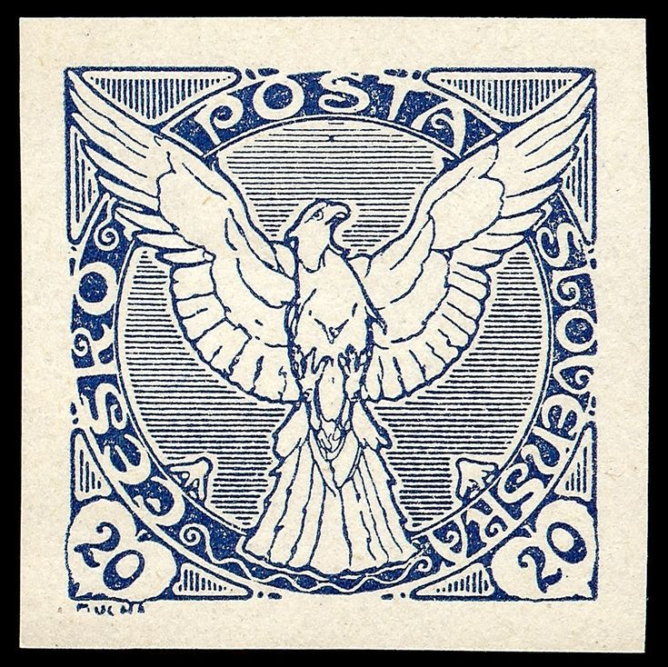 Art Nouveau. The Sokol - Flying Falcon postage stamp - blue 20.