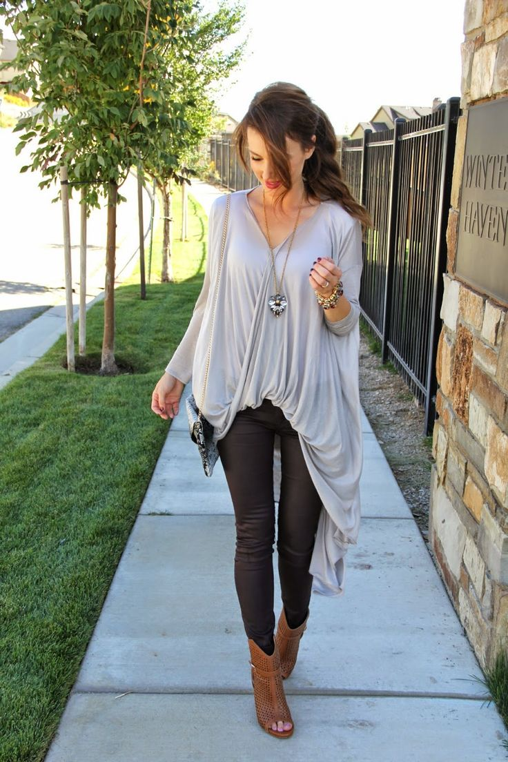 Kiss Me Darling: Blouse in the Front, Dress in the back- featuring The Shopping Bag twisted cardigan, coated denim, cardigan, blouse, dress, tan booties, fall outfit