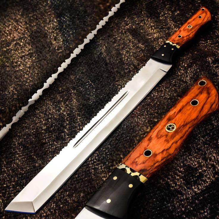 ALONZO KNIVES USA CUSTOM HANDMADE TANTO MACHETE 01 TOOL STEEL KNIFE PAKKA WOOD16 #AlonzoKnives