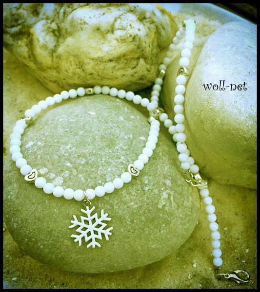 """Perlenketten - Halskette, Jade-Perlen, weiß mit Charm """"LINA"""" - ein Designerstück von woll-net bei DaWanda"""