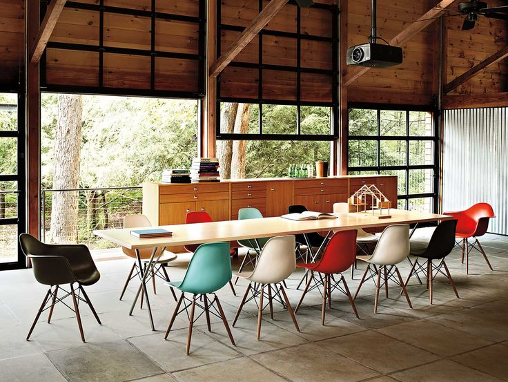 Herman Miller Collection:  Eames Molded Plastic Side and Armchairs, Nelson X-Leg Tables, Nelson Basic Cabinet Series.