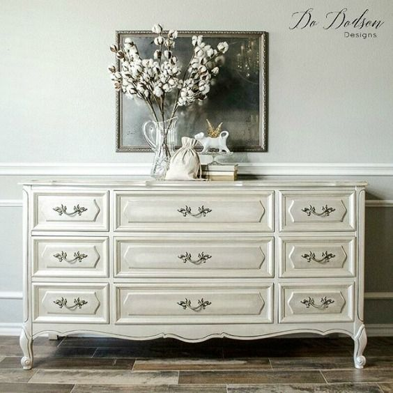 Beautiful sideboard painted with the help of Modern Masters Metallic Paint in Oyster and Pearl White | Gorgeous project by Do Dodson Designs | Metallic Paint on Furniture Feature