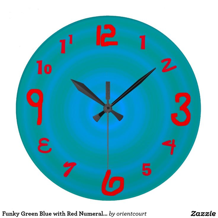Funky Green Blue with Red Numerals > Wall Clock
