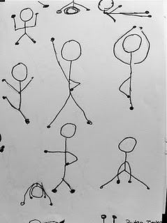 A Stick's Life. One of the ways I am creative is through drawing stick people. To me this is creative in that I never imagined stick people like this, and in different poses. It is pretty inspirational to see the creativity that comes from one simple stick figure to all these poses.