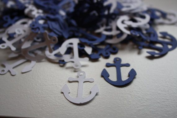 200 pieces Anchor Die Cut Confetti Table Decor   white and