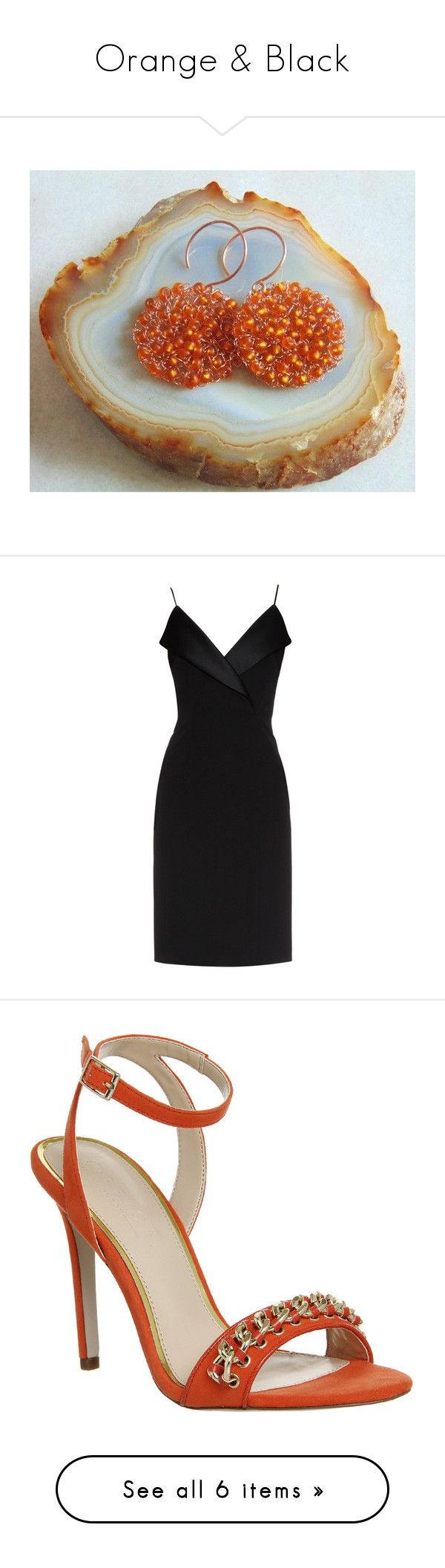 Orange & Black by styledonna on Polyvore featuring women's fashion, jewelry, earrings, dresses, short dresses, vestidos, cocktail dress, black, lbd dress and panel dress