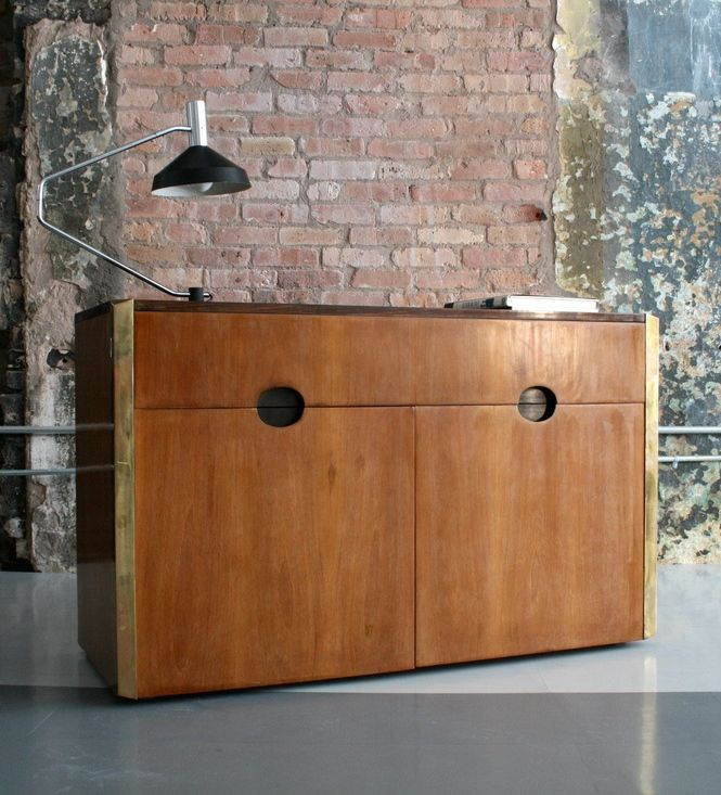 Luigi Caccia Dominioni; Wood and Brass Cabinet, 1960s
