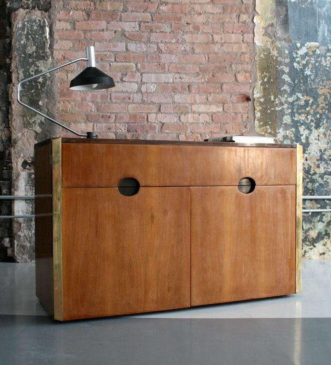 Luigi Caccia Dominioni; Wood and Brass Cabinet, 1960s
