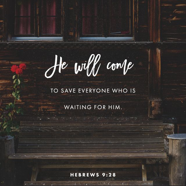 """""""So Christ was once offered to bear the sins of many; and unto them that look for him shall he appear the second time without sin unto salvation."""" Hebrews 9:28 KJV http://bible.com/1/heb.9.28.kjv"""