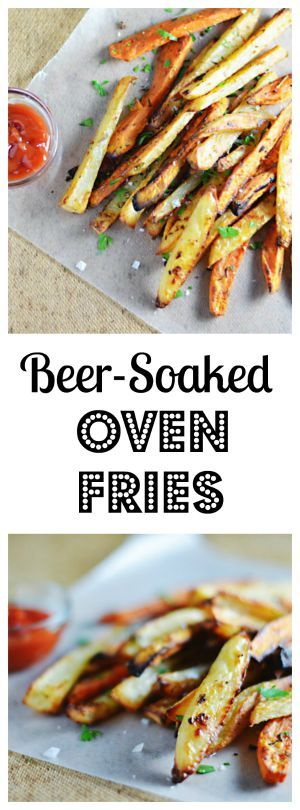 Beer-Soaked Garlic & Rosemary Fries. Russet and sweet potatoes are soaked in beer and baked until crispy and golden.
