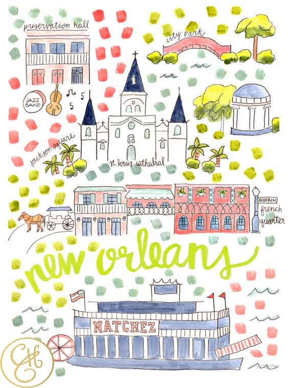 New Orleans Map Print by EvelynHenson on Etsy