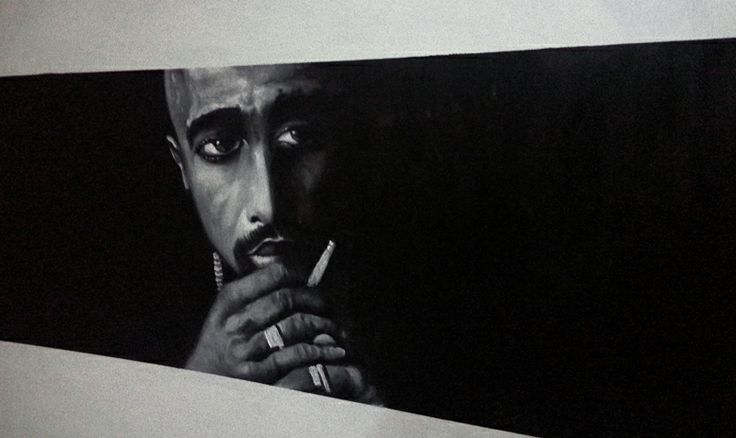 "Tupac oil painting.  Oil on canvas 26"" x 37"""