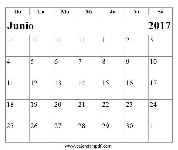Calendario Junio 2017 Para Imprimir