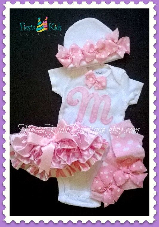 Newborn onesie and hat with bows, coming home baby girl outfit, mix and match pieces on Etsy, $34.00