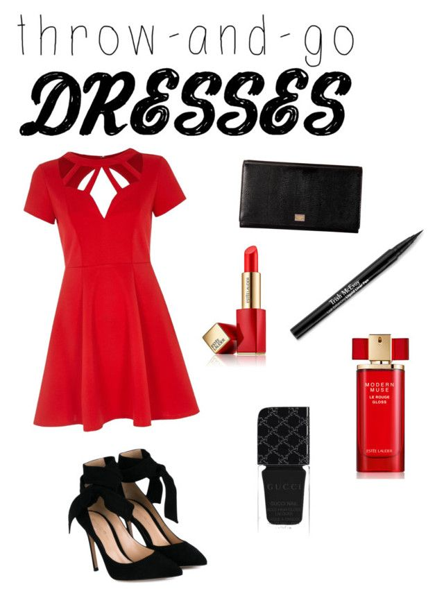 Red dream by loveclo on Polyvore featuring polyvore, fashion, style, River Island, Gianvito Rossi, Dolce&Gabbana, Estée Lauder, Trish McEvoy, Gucci and clothing