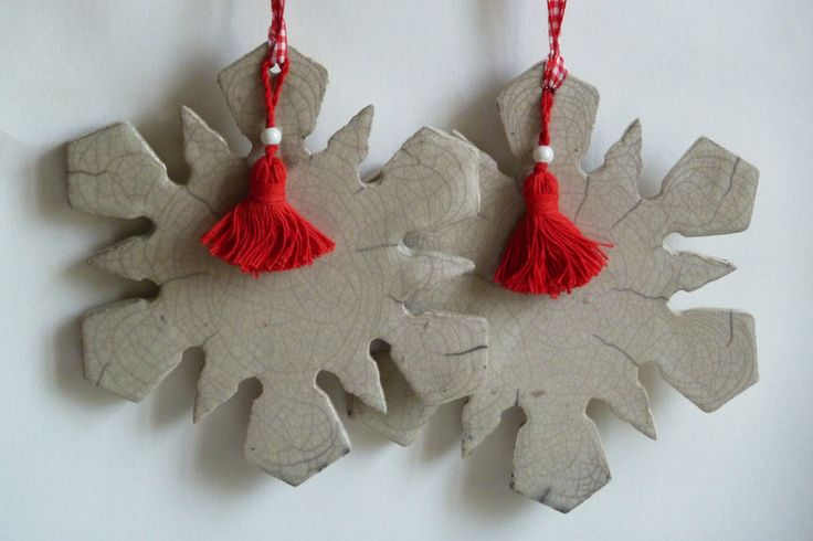 Snowflake in white Raku crackle with red beaded tassel and red and white check ribbon - approx 12 cm