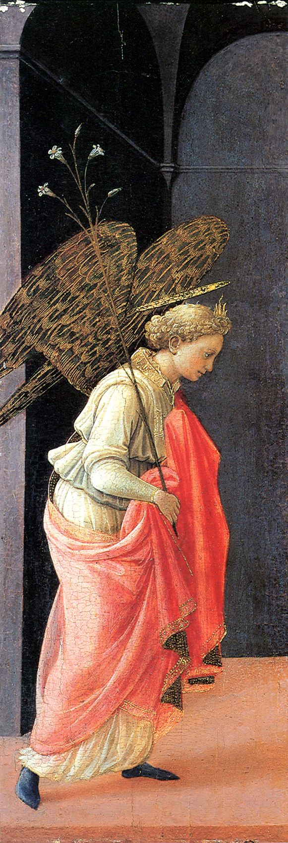 Filippo Lippi - The Annunciation (left wing) 1437-39. Tempera on wood, 64 x 23 cm (each panel) Frick Collection, New York
