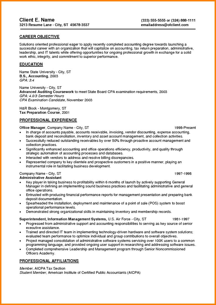 12 best Resume Examples 2013 images on Pinterest Resume examples - certified public accountant sample resume