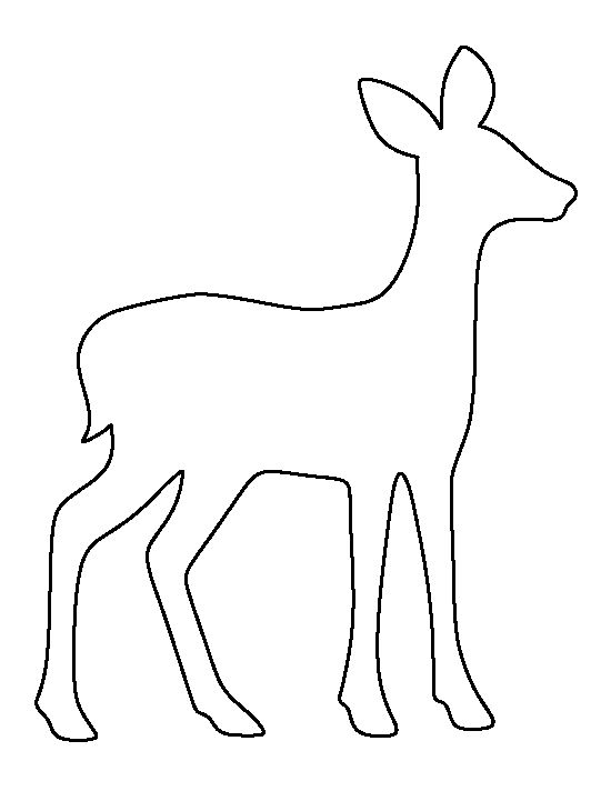 Fawn pattern. Use the printable outline for crafts, creating stencils, scrapbooking, and more. Free PDF template to download and print at http://patternuniverse.com/download/fawn-pattern/