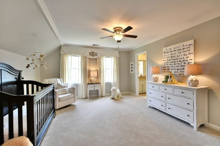 Transitional Kids Bedroom with High ceiling, flush light, Carpet, Crown molding, Ceiling fan