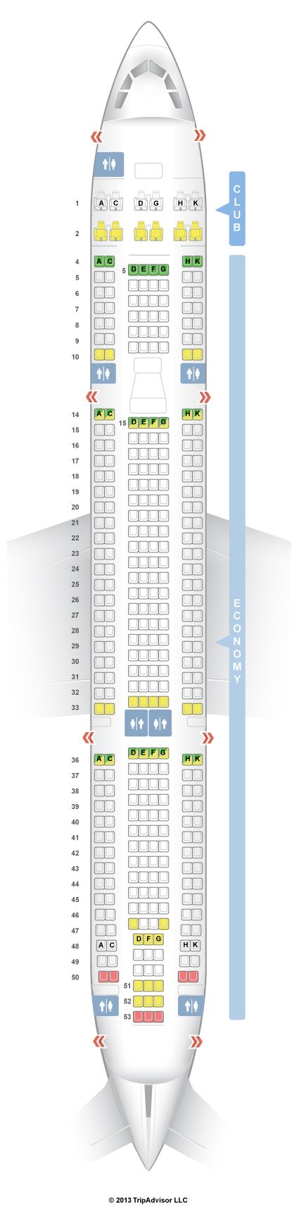 SeatGuru Seat Map Air Transat Airbus A330-300 (333) New Business