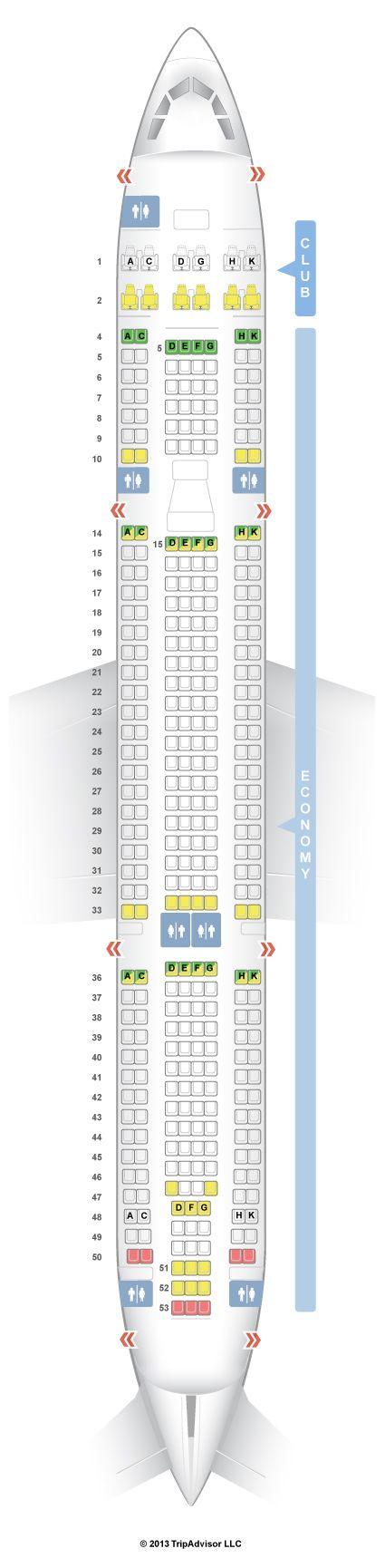 SeatGuru Seat Map Air Transat Airbus A330-300 (333) New Business