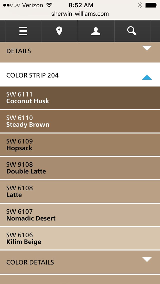 Sherwin Williams latte color strip *Kilim Beige with coconut husk trim*