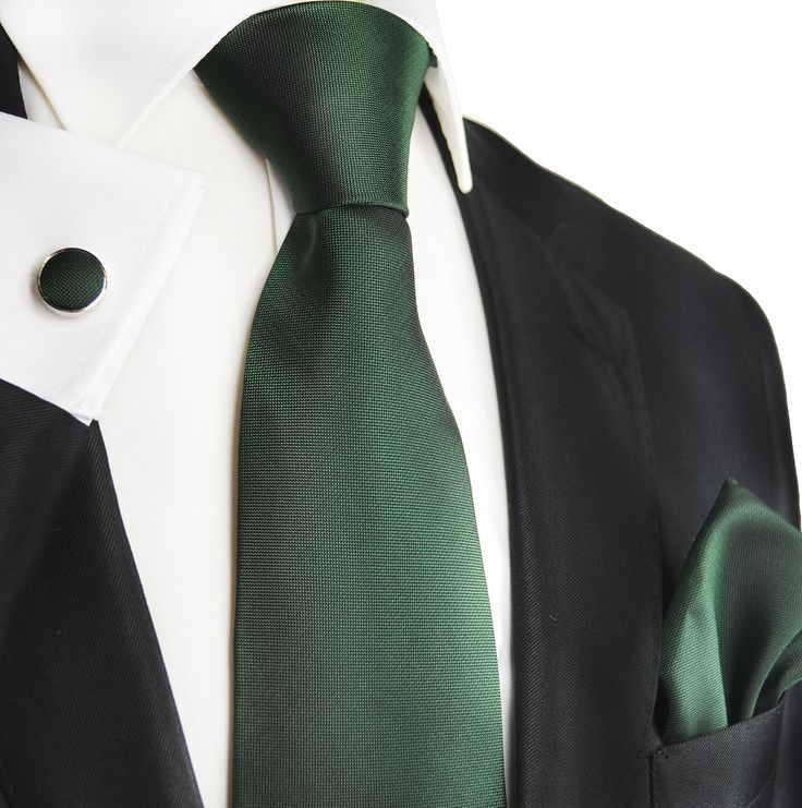Black Forest Green Silk Tie Set by Paul Malone