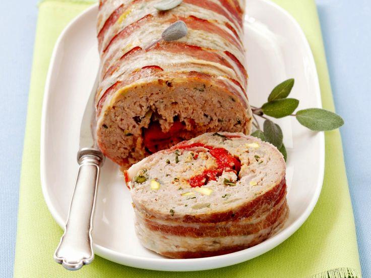 Gehaktbrood met gegrilde paprika