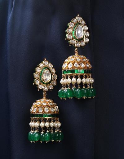 kundan polki small jhumka earrings with emerald drops, medium earrings, hanging