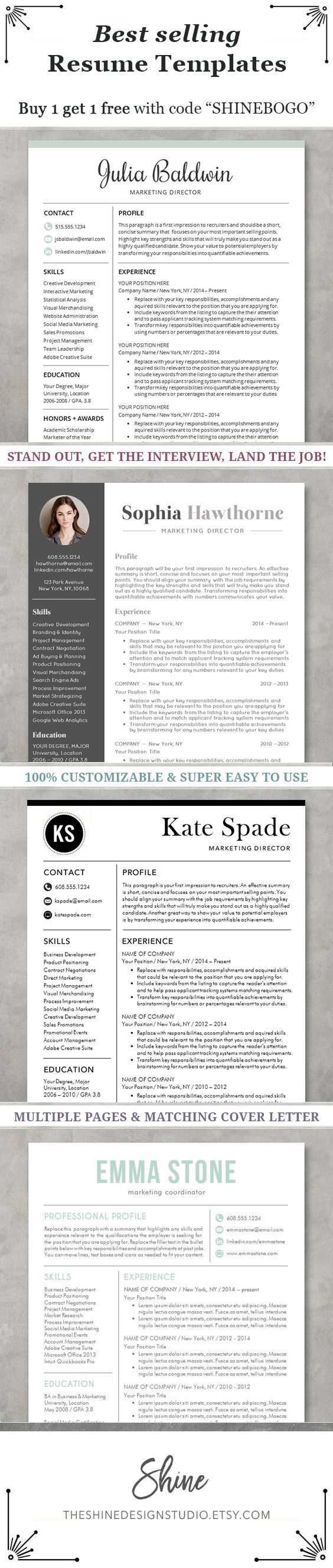 ★ Instant Download ★ Resume Templates / CV Template | Elegant Resume Designs for Word, Pages #shineresumes
