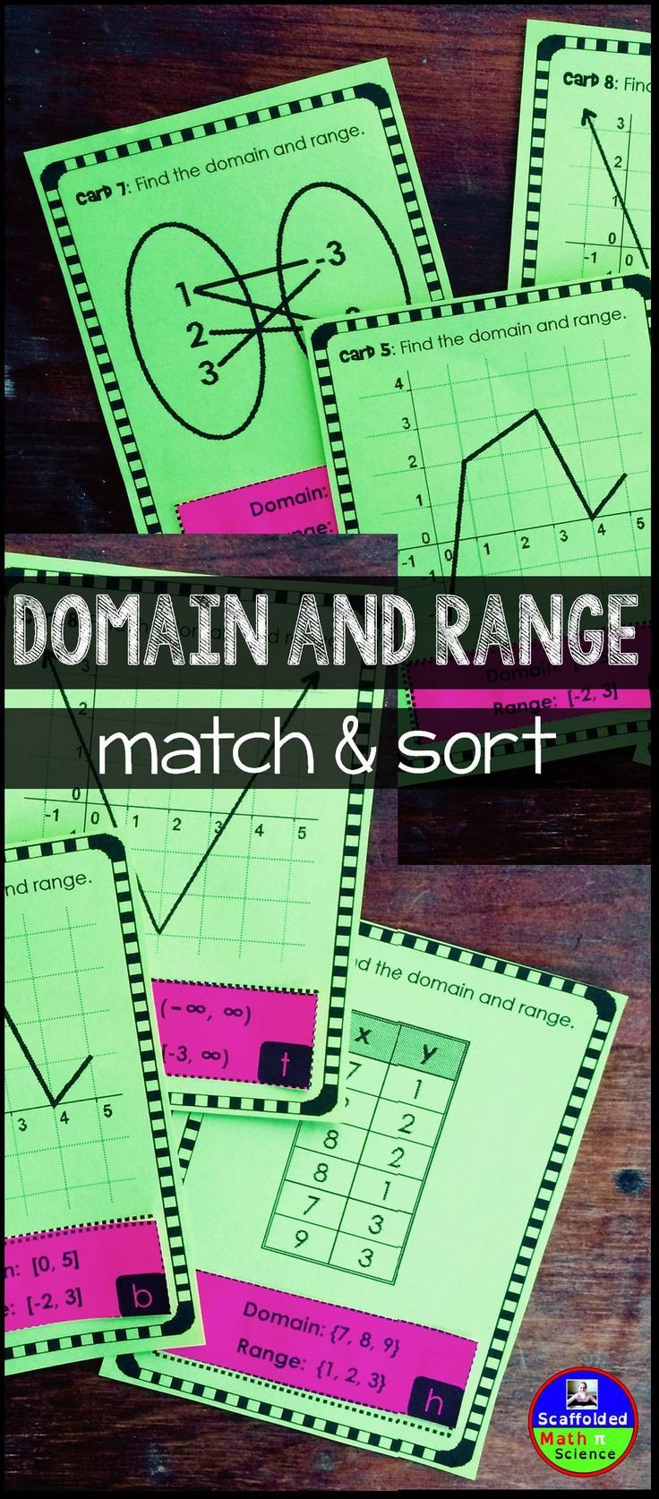 In this fun domain and range algebra activity, students match 20 cards of graphs, scatter plots, sets of coordinates, mappings and tables to cutouts of each relation's correct domain and range. They then sort their completed cards into 2 piles, whether they are a function or not a function. I use this activity as an assessment for domain and range.