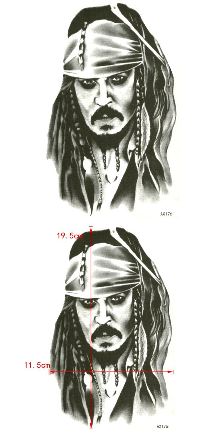 [Visit to Buy] Captain Jack Sparrow Waterproof Temporary Tattoos Sticker Pirates of the Caribbean Tattoo Body Art fake tattoo sleeve tatoo #Advertisement