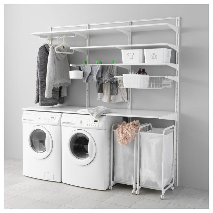IKEA - ALGOT, Wandrail/planken/droogrek, De onderdelen van de ALGOT serie kunnen op diverse manieren worden gecombineerd en zijn daardoor eenvoudig aan te passen aan de behoefte en de ruimte.Je klikt de consoles in de ALGOT wandrails op een plek waar je een plank of accessoire wilt bevestigen - geen gereedschap nodig.Ook te gebruiken in de badkamer en andere vochtige ruimtes binnen.
